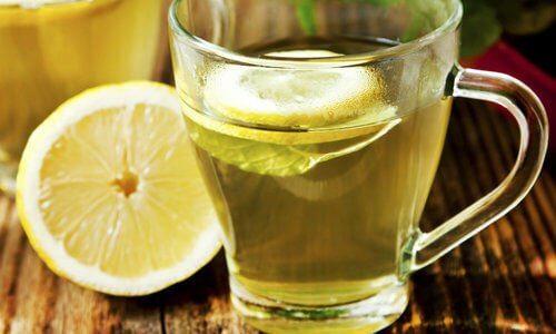 레몬과 미지근한 물